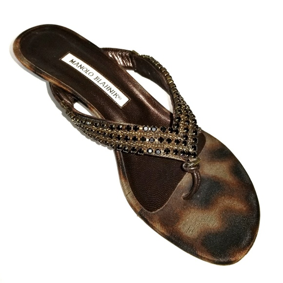 b900ce168da77 Manolo Blahnik Shoes - Manolo Blahnik Cheetah Rhinestone Kitten Heel 37.5